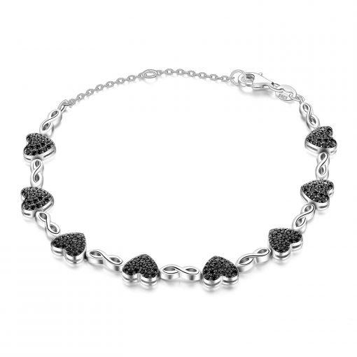 Bracelet Spinelle Noire En Argent 925
