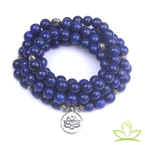 Bracelet Mala Lapis Lazuli en Lotus 108 perles