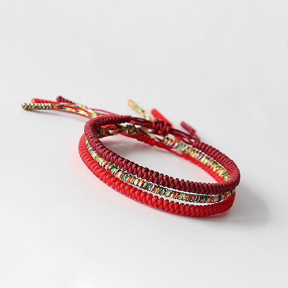 Bracelet Mala Tibetain Porte Bonheur rouge