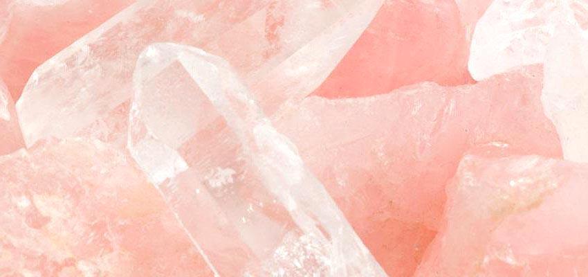 cristal de roche en quartz rose